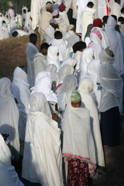 Close-up of crowd of worshippers on Sunday morning mass in Lalibela | Lalibela Sunday Mass | Ethiopia
