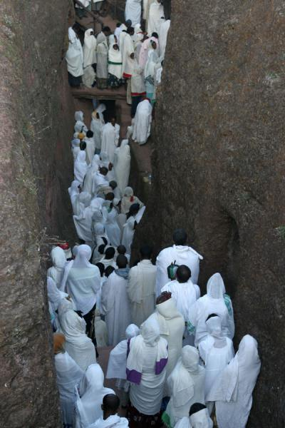 Crowd filling the trench of Bet Mikael for Sunday morning mass | Lalibela Sunday Mass | Ethiopia