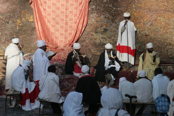 Priests performing service in Sunday morning mass | Lalibela Sunday Mass | Ethiopia