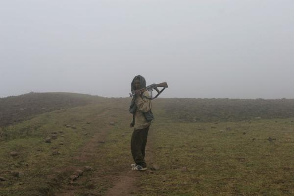 Scout leading the way through the fog | Simien Mountains | Ethiopia