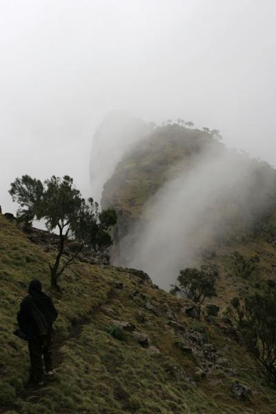 Fog creeping over the edge of the escarpment | Simien Mountains | Ethiopia
