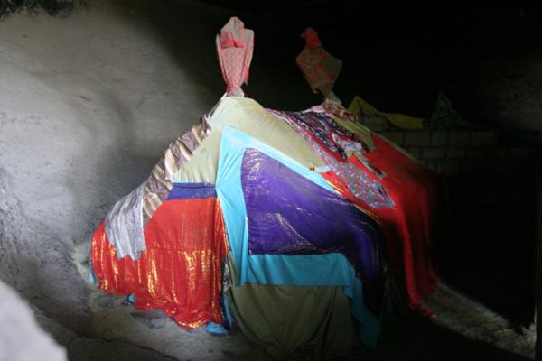 Tent made of priest robes at Yemrehanna Kristos | Yemrehanna Kristos church | Ethiopia