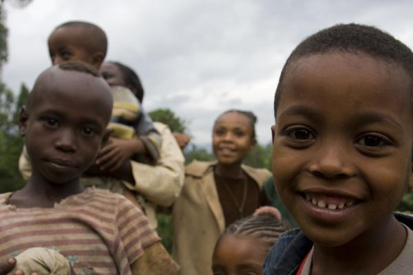Picture of Ethoipian kids in one of the many huts around Yirgalem - Ethiopia - Africa
