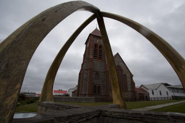 Whale-bone arch and Christ Church Cathedral in Stanley | Stanley | Falkland Islands (Malvinas)