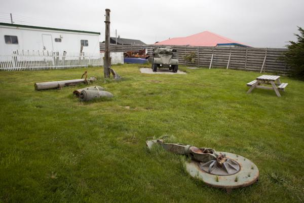 Items on display in the garden of the museum of Stanley | Stanley | Falkland Islands (Malvinas)