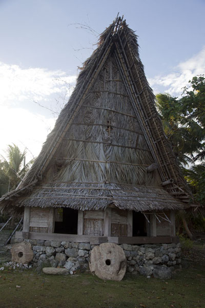 Picture of Balabat Stone Money Bank (Federated States of Micronesia): View of the men's house at Balabat with two pieces of stone money