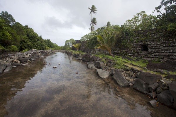 Picture of Nan Douwas on the right, Dau in the left and one of the many canals running in between at Nan Madol - Federated States of Micronesia - Oceania