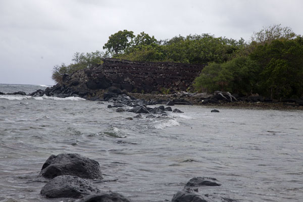 Looking over the waves of the sea towards one of the many artificial islets | Nan Madol | Federated States of Micronesia
