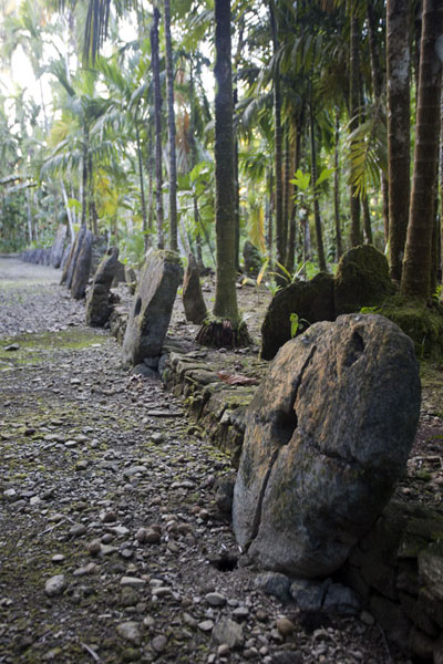 Picture of Okeu stone money bank (Federated States of Micronesia): Long row of stone money at Okeu