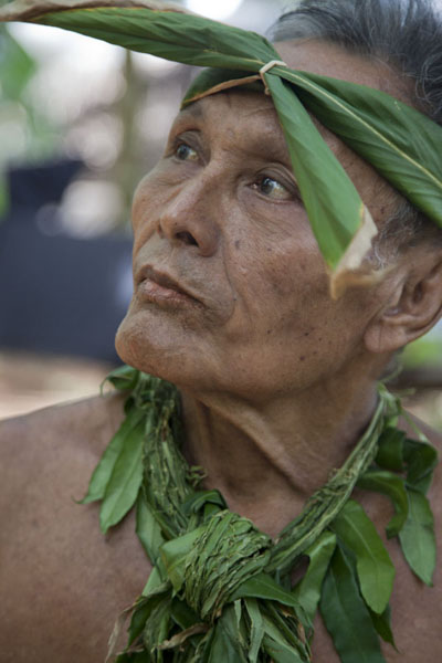 Chief with decorations made of local materials | Tamil village | Federated States of Micronesia