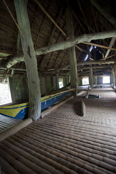 Canoe inside the men's house | Tamil village | Federated States of Micronesia
