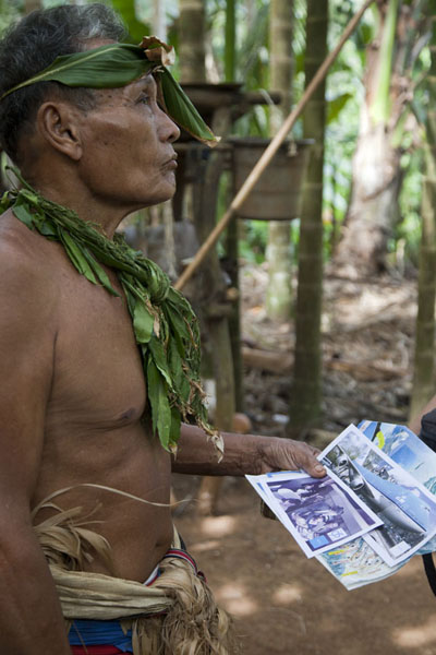 Chief with ski area map in his hands | Tamil village | Federated States of Micronesia