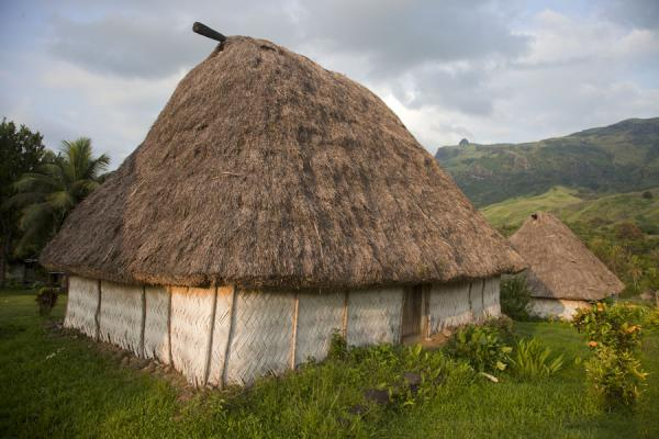 Picture of Navala (Fiji): Afternoon sun on two of the typical thatched roof bure of Navala