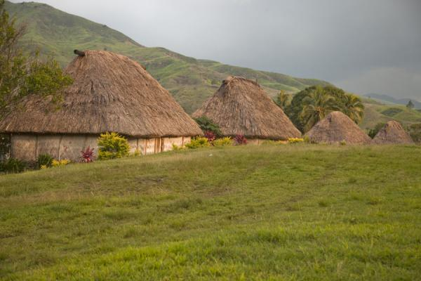 Row of thatched roof bure in Navala | Navala | Fiji