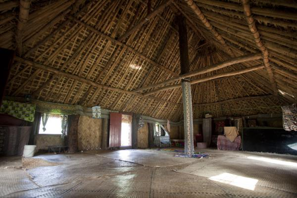 Interior view of a traditional bure in Navala | Navala | Figi