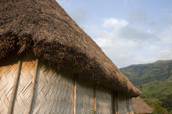 Close-up of the thatched roof and bamboo wall of a bure in Navala | Navala | Fidji