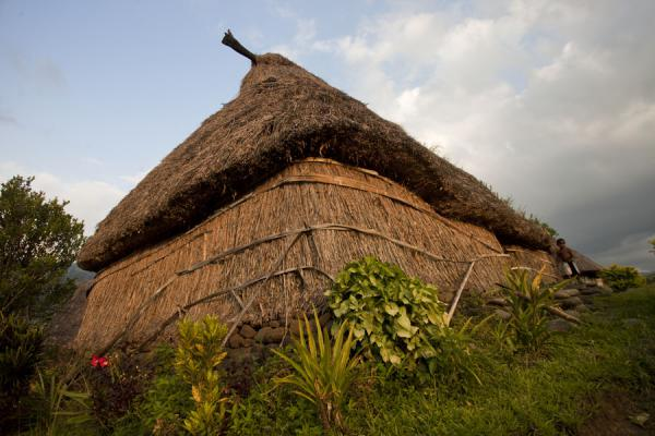 Foto van Late afternoon sun on this thatched-wall traditional bure in NavalaNavala - Fiji