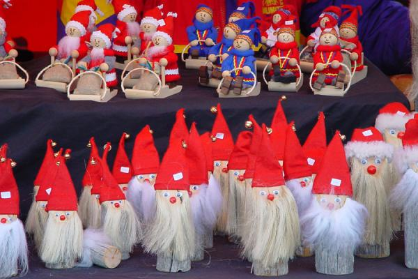 Small Santa Clauses for sale | Helsinki Christmas market | Finland