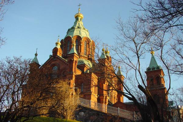 Picture of Helsinki Churches (Finland): Helsinki: Uspensky Cathedral seen from below