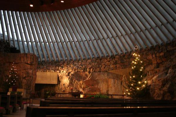 Picture of Helsinki Churches (Finland): Helsinki: part of roof and wall in Temppeliaukio or Temple church