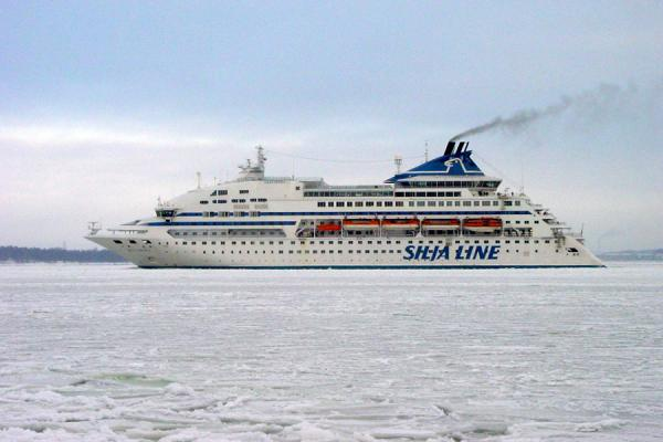 Picture of Helsinki Harbour Winter (Finland): Ferry boat in frozen sea, Helsinki Harbour
