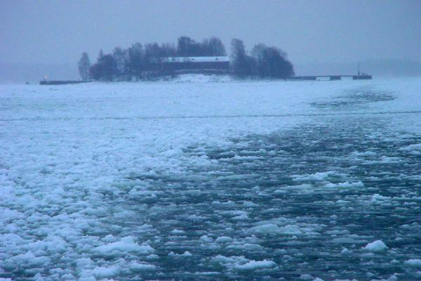 Picture of Helsinki Harbour Winter (Finland): Island in frozen sea at Helsinki harbour