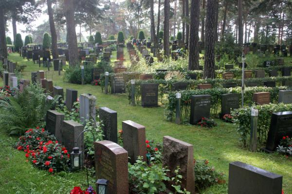 Picture of Hietaniemi Cemetery: tombstones under trees - Finland - Europe