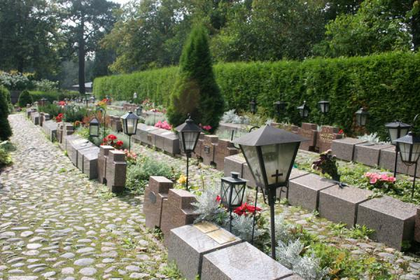 Picture of Tombstones and lanterns at Hietaniemi CemeteryHelsinki - Finland