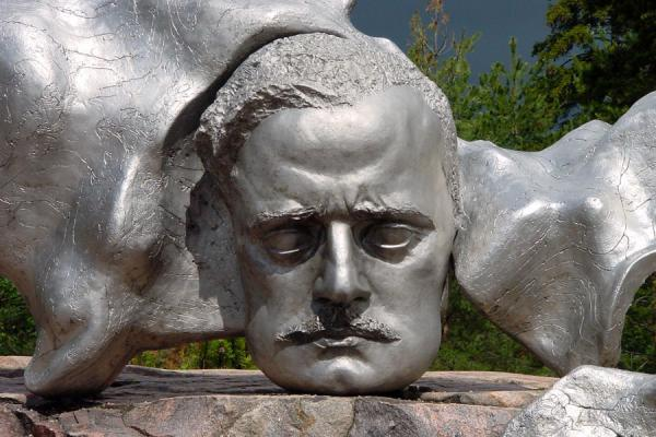 The figurative element added as a compromise after the debate: the head of the composer | Sibelius Monument | Finland