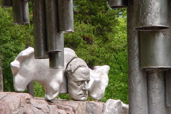 Picture of Sibelius Monument (Finland): Head of Sibelius and part of the monument