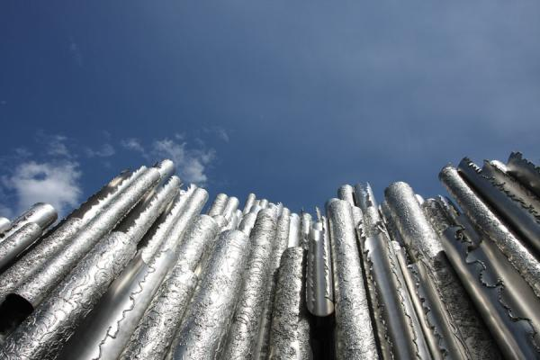 Picture of Sibelius Monument (Finland): Sibelius Monument against a blue sky
