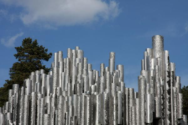 Picture of Sibelius Monument like a skylineHelsinki - Finland