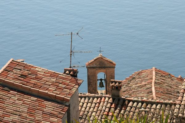 Picture of Eze: roofs of the village seen from the exotic garden