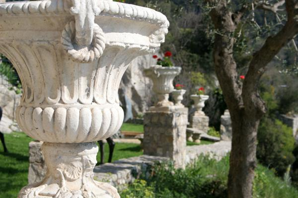 Picture of Eze (France): Eze: some of the many flower pots in the garden at the entrance