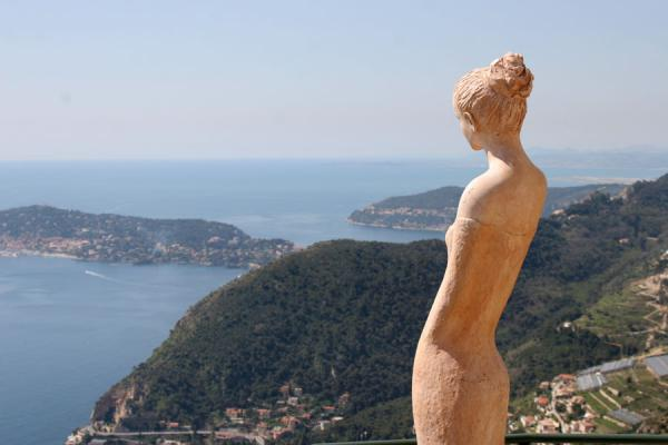 Picture of Eze: view from atop with sculpture by Jean-Philippe Richard