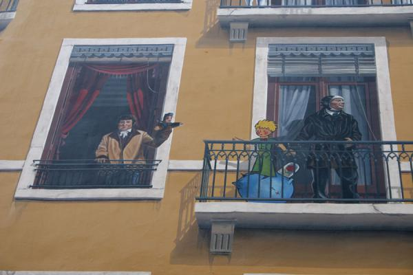 Detail of trompe l'oeil with famous Lyonnais people, with Saint Exupéry | Lyon street art | France