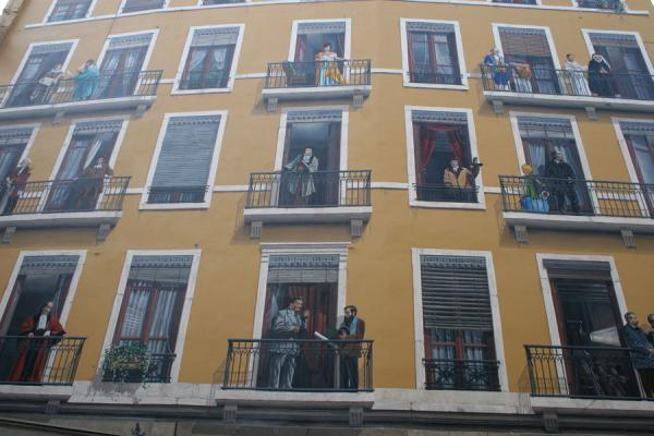 Detail of facade of building with famous Lyonnais | Lyon street art | France