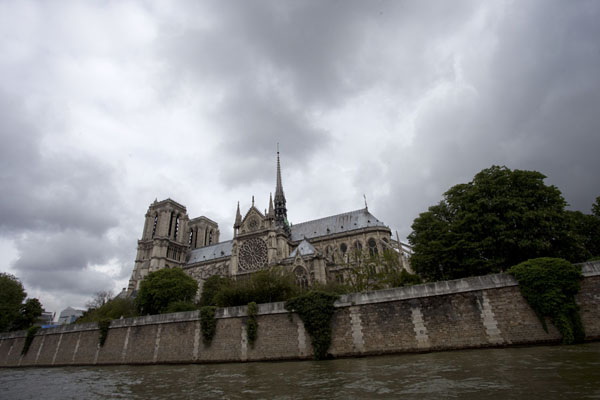 Picture of The river Seine flowing in front of one of the landmarks of Paris: the Notre Dame cathedral