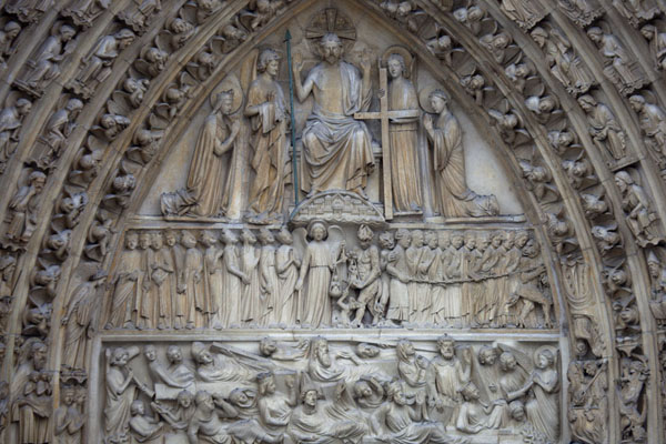 Detail of the Portal of the Last Judgment, the central portal in the western facade of the Notre Dame | Notre Dame de Paris | France