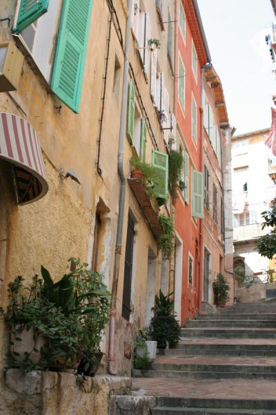 Picture of Villefranche sur Mer (France): Villefranche sur Mer: stairs leading up the village