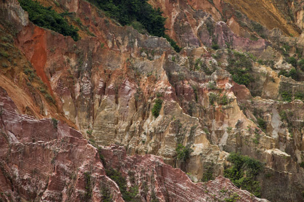 Close-up of the reddish pinnacles of the canyon of Léconi | Léconi canyon | Gabon