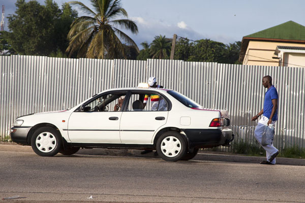 Picture of Trying to get a taxi on the street in Libreville