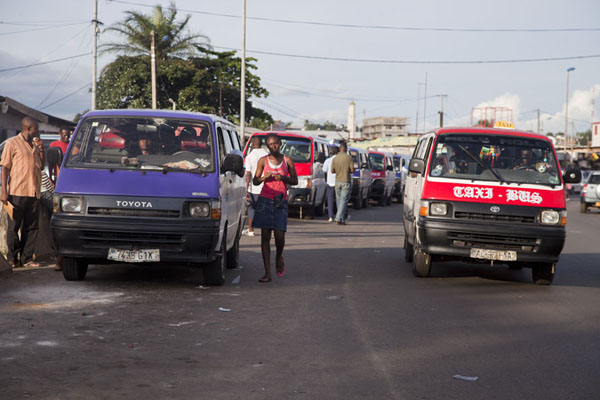 Taxi-buses at the Gare Routière in Libreville | Libreville taxi drivers | Gabon