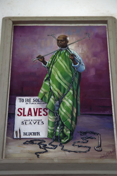 Drawing depicting a slave for sale in the museum of Jufureh | Jufureh Slave Museum | Gambia
