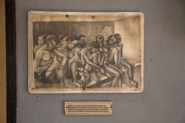 Drawing showing slaves chained to a ship | Jufureh Slave Museum | Gambia