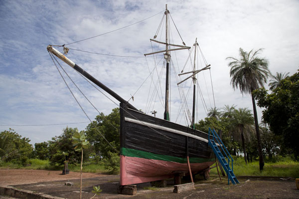 Picture of A replica of a small slave ship can be found on the museum grounds