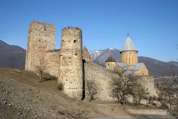 Picture of Ananuri castle (Georgia): Ananuri fortress and church basking in the afternoon Georgian sunlight