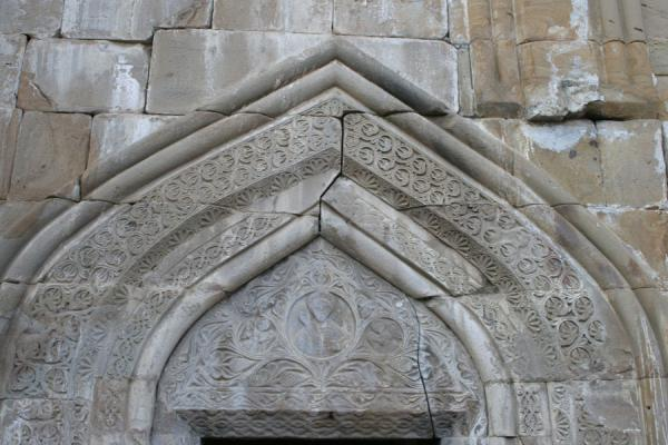 Picture of Ananuri castle (Georgia): Decorated entrance to Ananuri church