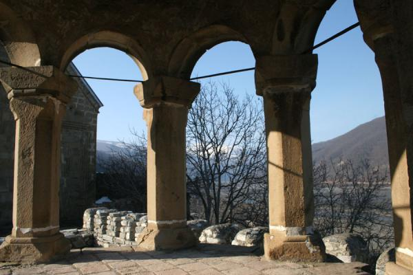 Picture of Ananuri castle (Georgia): View of the Caucasus mountains from inside Ananuri fortress