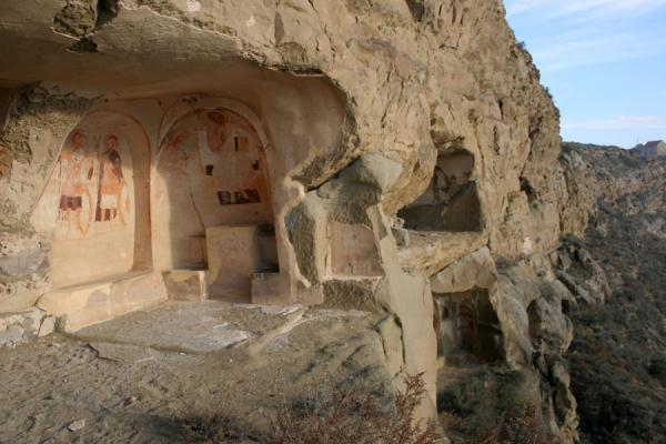 One of the places of worship in Udabno monastery with cave cliff | Davit Gareja | Georgia